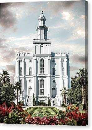 St. George Temple Canvas Print - St George Temple - Tower Of The Lord by Brent Borup