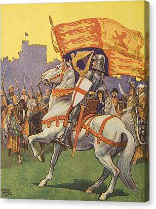 St George Canvas Print - St George With Royal Standard & Shield by Vintage Design Pics