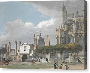 St. George's Chapel, Windsor, And The Entrance To The Singing Men's Cloister Canvas Print by Paul Sandby