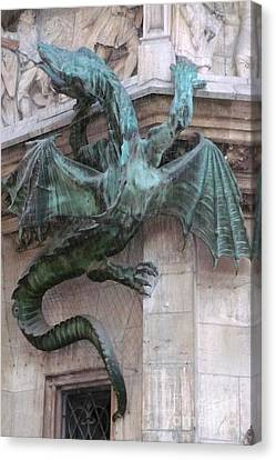 Dragon On Munich City Hall Canvas Print by Carol Groenen
