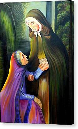 St Jeanne Jugan Of France With Old Lady Canvas Print by Xafira Mendonsa
