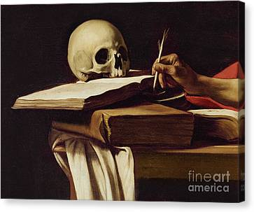 St. Jerome Writing Canvas Print by Caravaggio