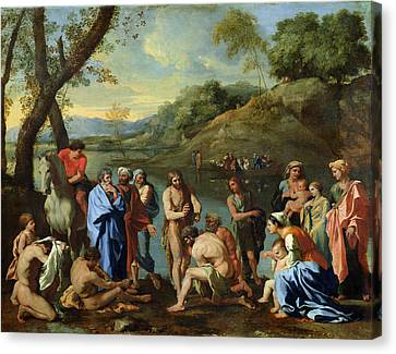 Baptising Canvas Print - St John Baptising The People by Nicolas Poussin