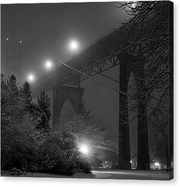 Winter Light Canvas Print - St. Johns Bridge On Snowy Evening by Zeb Andrews