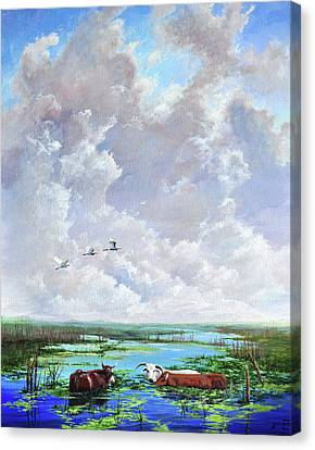 Canvas Print featuring the painting St. John's Cows by AnnaJo Vahle