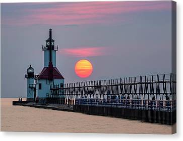 Canvas Print featuring the photograph St. Joseph Lighthouse At Sunset by Adam Romanowicz