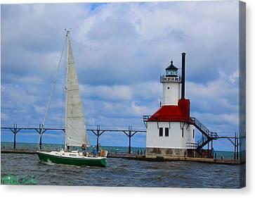 St. Joseph Lighthouse Sailboat Canvas Print