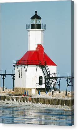 St Joseph North Pier Lights Canvas Print by Michael Peychich