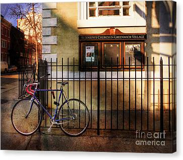 Canvas Print featuring the photograph St. Joseph's Church Bicycle by Craig J Satterlee
