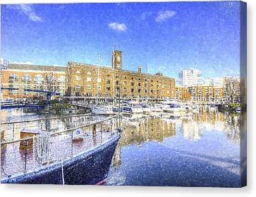 St Katherines Dock London Snow Canvas Print by David Pyatt