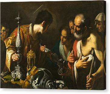 St. Lawrence Distributing The Treasures Of The Church Canvas Print