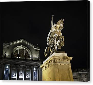 St Louis Art Museum With Statue Of Saint Louis At Night Canvas Print by David Coblitz
