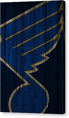 St Louis Blues Wood Fence Canvas Print by Joe Hamilton
