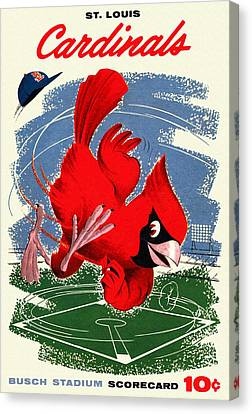 St. Louis Cardinals Vintage 1958 Scorecard Canvas Print by Big 88 Artworks
