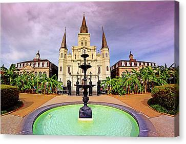 Canvas Print featuring the photograph St. Louis Cathedral - New Orleans - Louisiana by Jason Politte