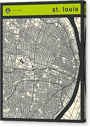 St Louis Street Map Canvas Print by Jazzberry Blue