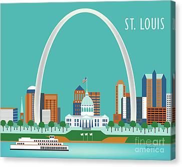 St Canvas Print - St. Louis Missouri Horizontal Skyline by Karen Young
