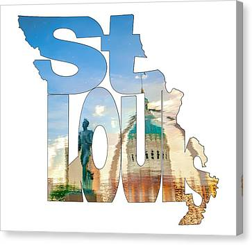 St. Louis Missouri Typography Artwork - Reflecting The Lou - State Shape Series Canvas Print by Gregory Ballos