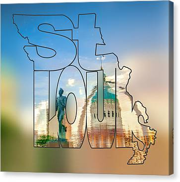 St. Louis Missouri Typography Blur Artwork - Reflecting The Lou - State Shape Series Canvas Print by Gregory Ballos