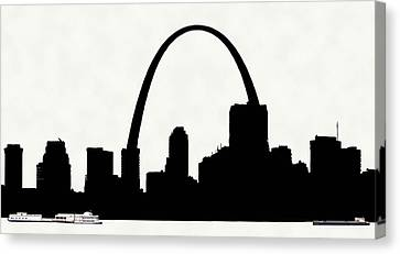 St Louis Silhouette With Boats 2 Canvas Print