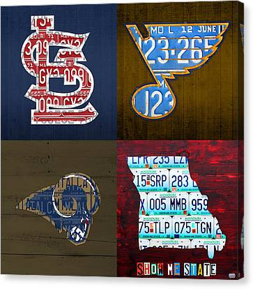 St Louis Sports Fan Recycled Vintage Missouri License Plate Art Cardinals Blues Rams Canvas Print