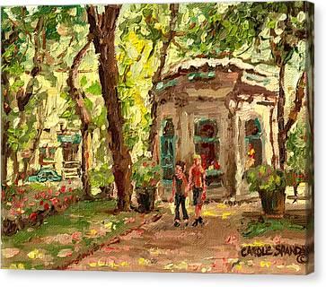 St Louis Square St Denis Street Canvas Print by Carole Spandau