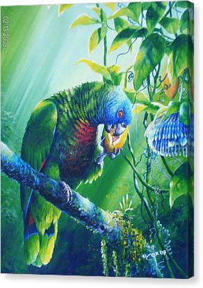 St. Lucia Parrot And Wild Passionfruit Canvas Print by Christopher Cox