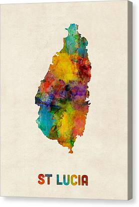 St Lucia Watercolor Map Canvas Print by Michael Tompsett