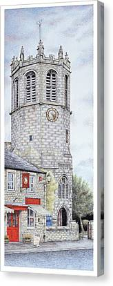 St Margarets Church Clock  Hornby  Lancashire Canvas Print by Sandra Moore