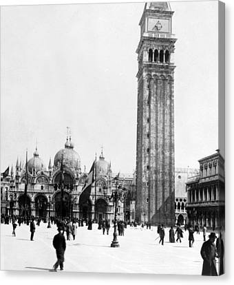 St Marks Campanile In Venice - Italy - C 1902 Canvas Print by International  Images