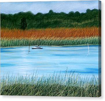 Canvas Print featuring the pastel St. Marks Fishing by Jan Amiss
