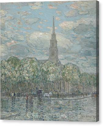 St Marks In The Bowery Canvas Print by Childe Hassam