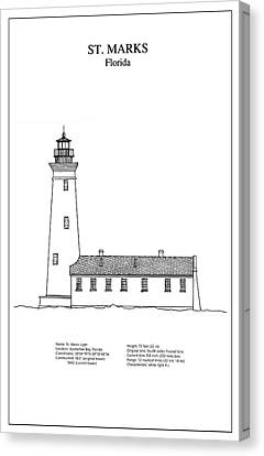 St. Marks Lighthouse - Florida - Blueprint Drawing Canvas Print