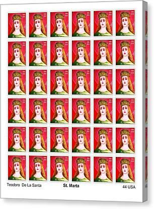 St Marta 36 Postage Stamps Canvas Print by Teodoro De La Santa