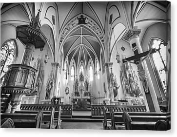 St Mary's Church Sanctuary - Bw Canvas Print by Stephen Stookey