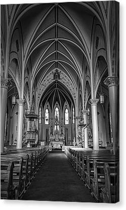 St Mary's Painted Church Bw Canvas Print
