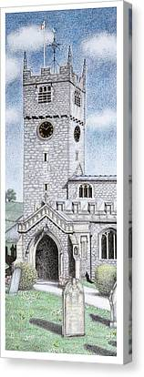St Michael And All Angels Church Clock  Beetham Cumbria  Canvas Print by Sandra Moore
