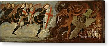 Heavens Canvas Print - St. Michael And The Angels At War With The Devil by Domenico Ghirlandaio