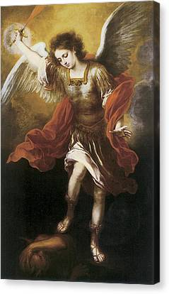 Sun Rays Canvas Print - St. Michael by Bartolome Esteban Murillo