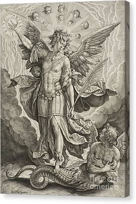 St Michael Triumphing Over The Dragon Canvas Print by Hieronymus or Jerome Wierix