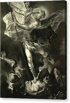 Gabriel Canvas Print - St. Michael Vanquishing The Devil by Tyler Anderson