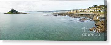 St Michaels Mount Bay Aerial Canvas Print by Steev Stamford