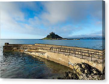 St Michaels Mount With Harbour Wall Cornwall England Uk Medieval Castle And Church On An Island Canvas Print