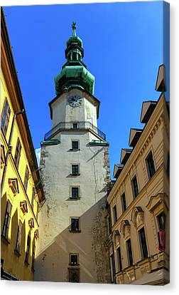 St Michael's Tower In The Old City, Bratislava, Slovakia, Europe Canvas Print by Elenarts - Elena Duvernay photo