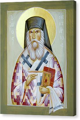 St Nektarios Of Aigina II Canvas Print by Julia Bridget Hayes