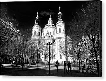 Canvas Print featuring the photograph St. Nicholas Church Shadows by John Rizzuto
