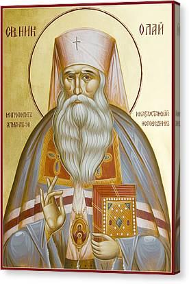 St Nicholas The Confessor Of Alma Ata And Kazakhstan Canvas Print by Julia Bridget Hayes