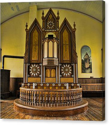 St Olafs Kirke Pulpit Canvas Print by Stephen Stookey
