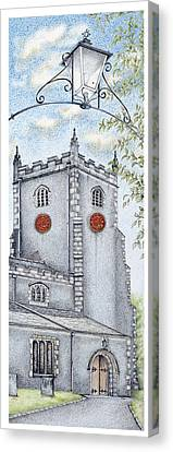 St Oswald's Church Clock Canvas Print by Sandra Moore