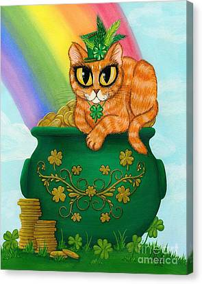 Canvas Print featuring the painting St. Paddy's Day Cat - Orange Tabby by Carrie Hawks